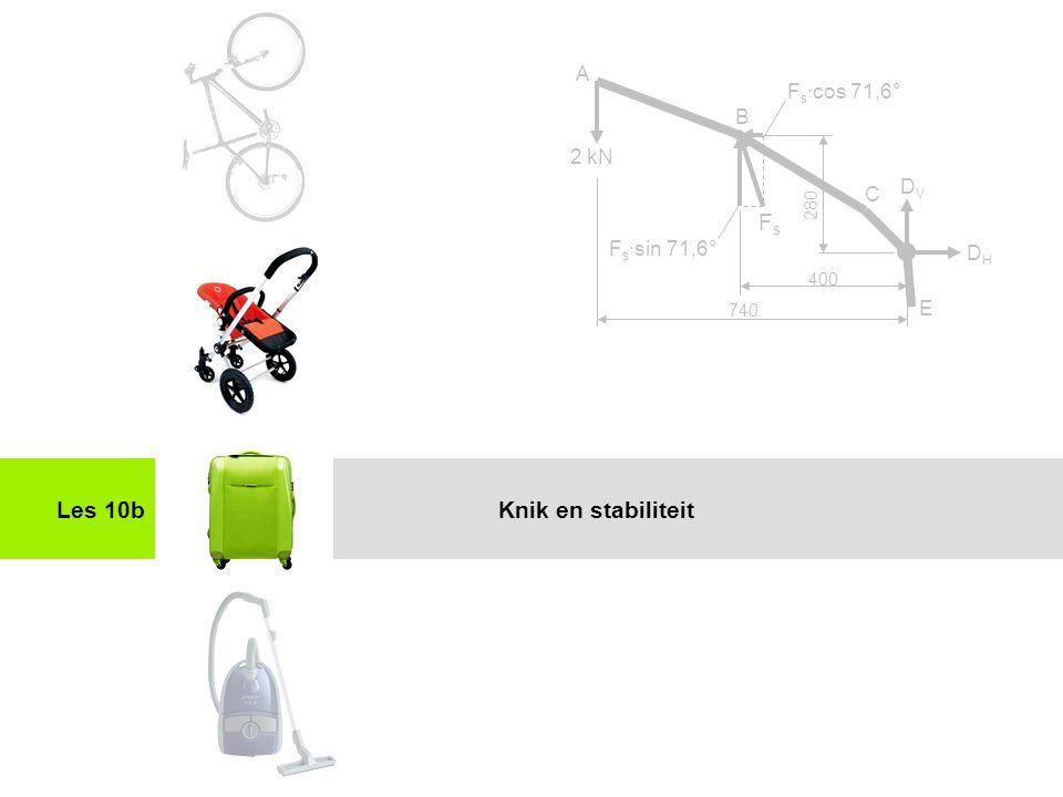 Fs Les 10b Knik en stabiliteit A Fs·cos 71,6° B 2 kN DV C Fs·sin 71,6°
