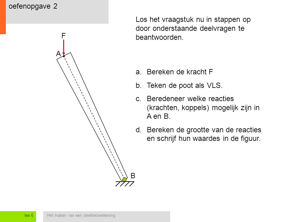 Beredeneer welke reacties (krachten, koppels) mogelijk zijn in A en B.