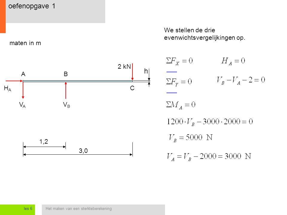 oefenopgave 1 h We stellen de drie evenwichtsvergelijkingen op.