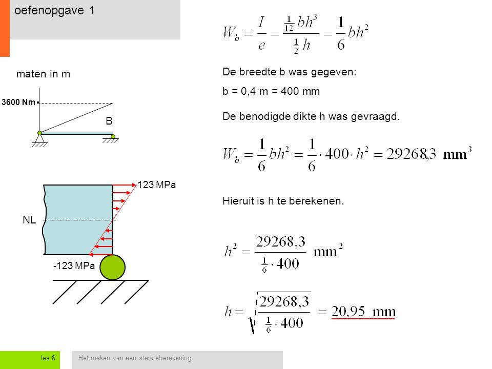 oefenopgave 1 De breedte b was gegeven: maten in m b = 0,4 m = 400 mm