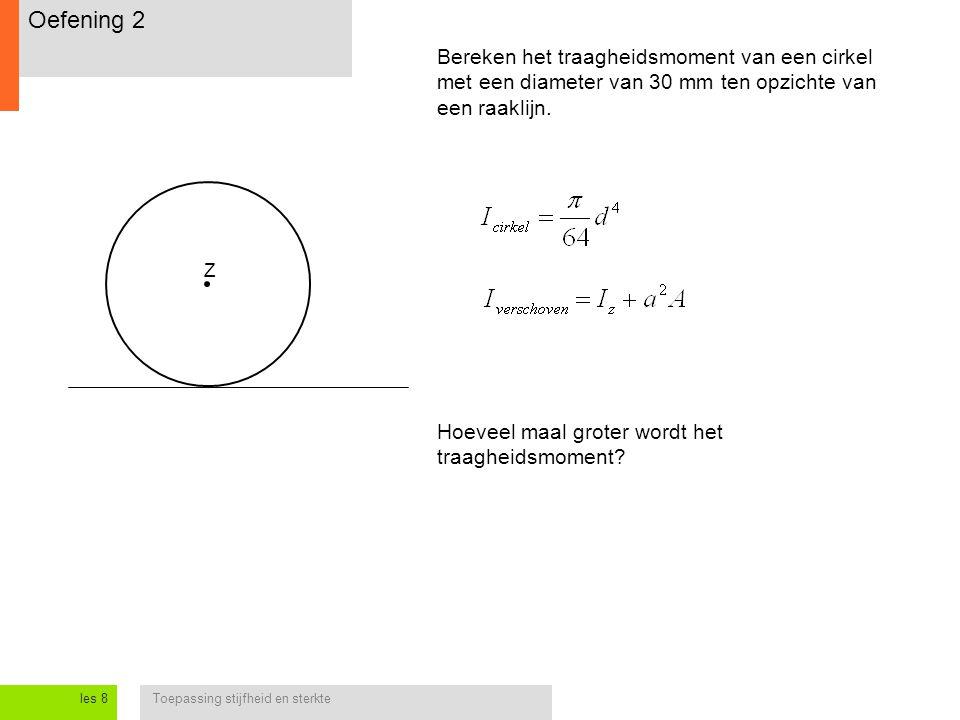 Oefening 2 Bereken het traagheidsmoment van een cirkel met een diameter van 30 mm ten opzichte van een raaklijn.