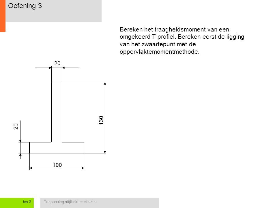 Oefening 3 Bereken het traagheidsmoment van een omgekeerd T-profiel. Bereken eerst de ligging van het zwaartepunt met de oppervlaktemomentmethode.
