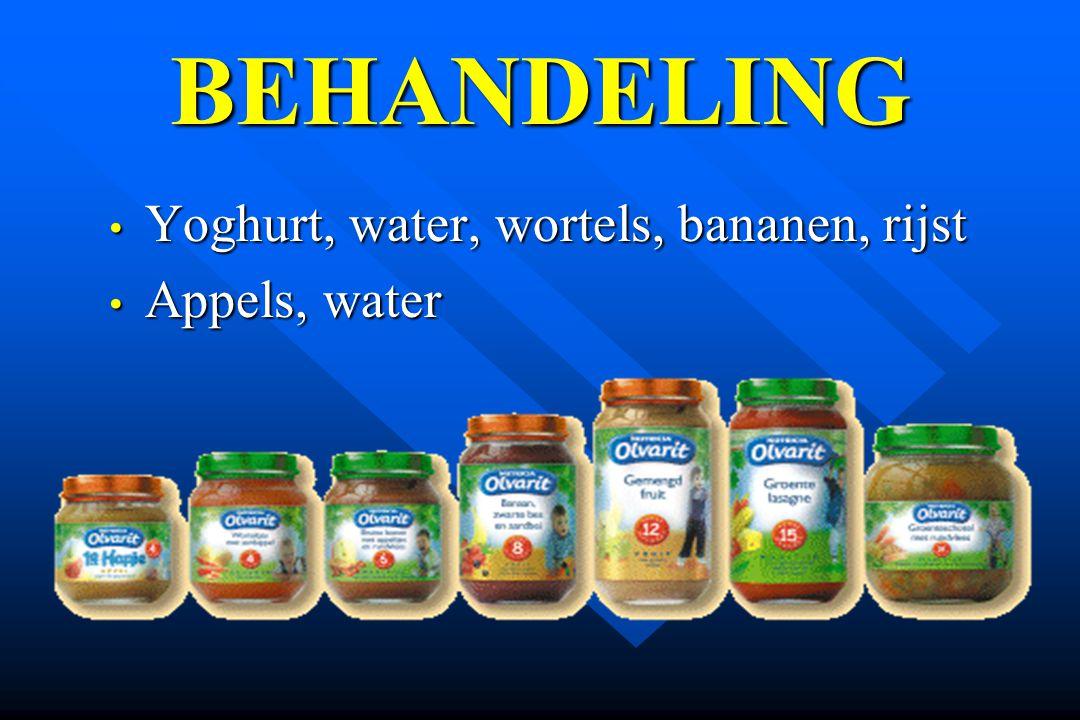 BEHANDELING Yoghurt, water, wortels, bananen, rijst Appels, water