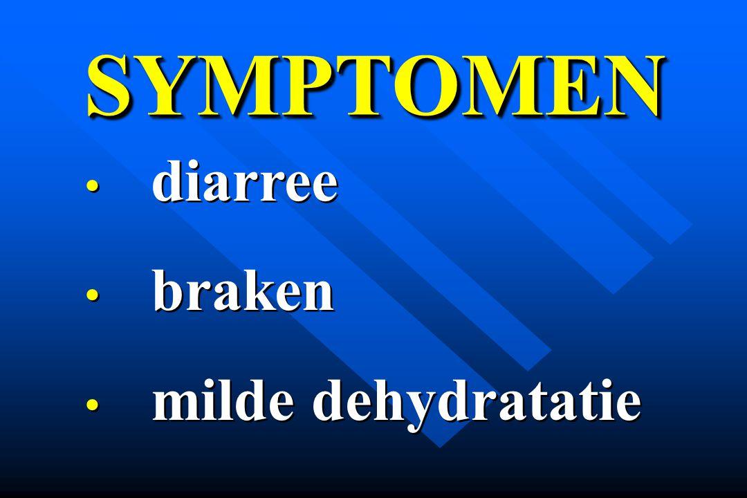 SYMPTOMEN diarree braken milde dehydratatie
