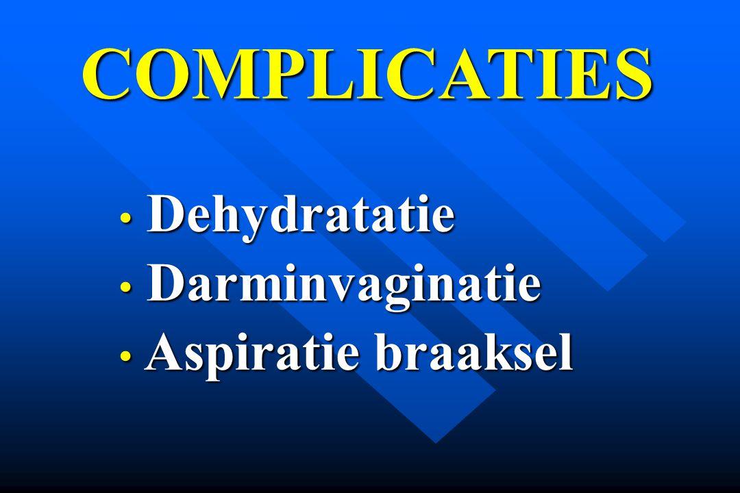 COMPLICATIES Dehydratatie Darminvaginatie Aspiratie braaksel