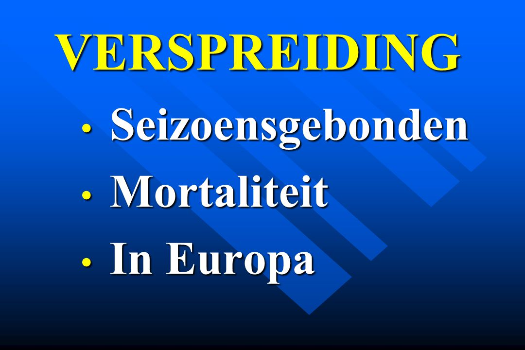 VERSPREIDING Seizoensgebonden Mortaliteit In Europa
