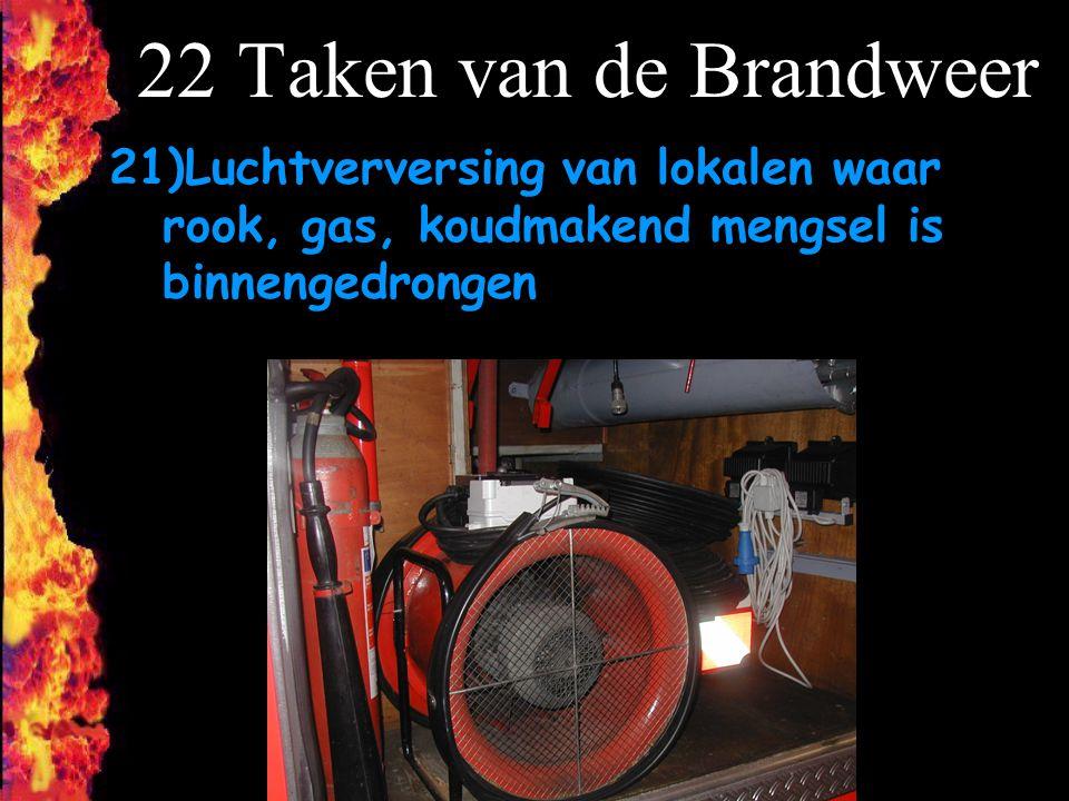 22 Taken van de Brandweer Luchtverversing van lokalen waar rook, gas, koudmakend mengsel is binnengedrongen.