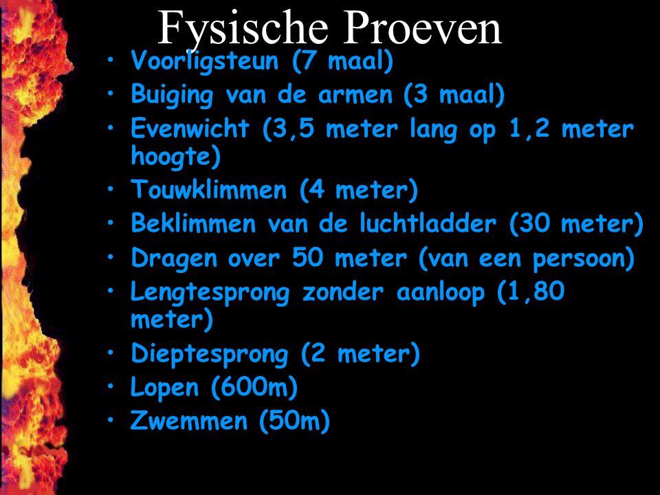 Fysische Proeven Voorligsteun (7 maal) Buiging van de armen (3 maal)