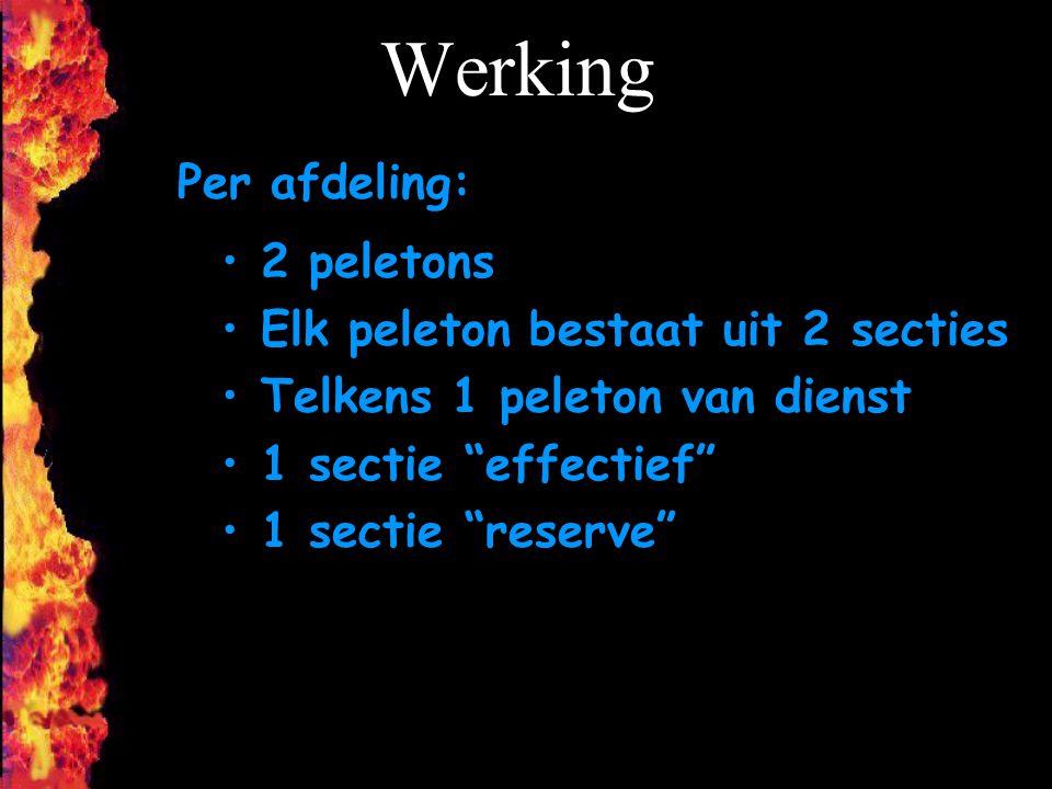Werking Per afdeling: 2 peletons Elk peleton bestaat uit 2 secties