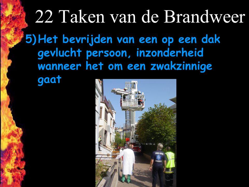 22 Taken van de Brandweer Het bevrijden van een op een dak gevlucht persoon, inzonderheid wanneer het om een zwakzinnige gaat.