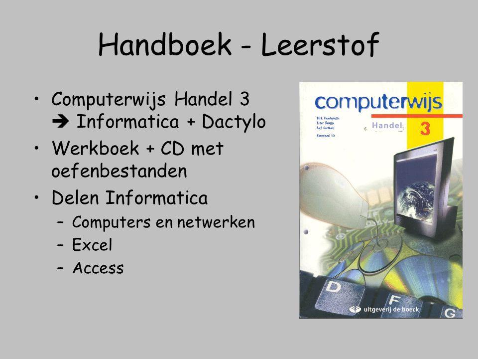 Handboek - Leerstof Computerwijs Handel 3  Informatica + Dactylo