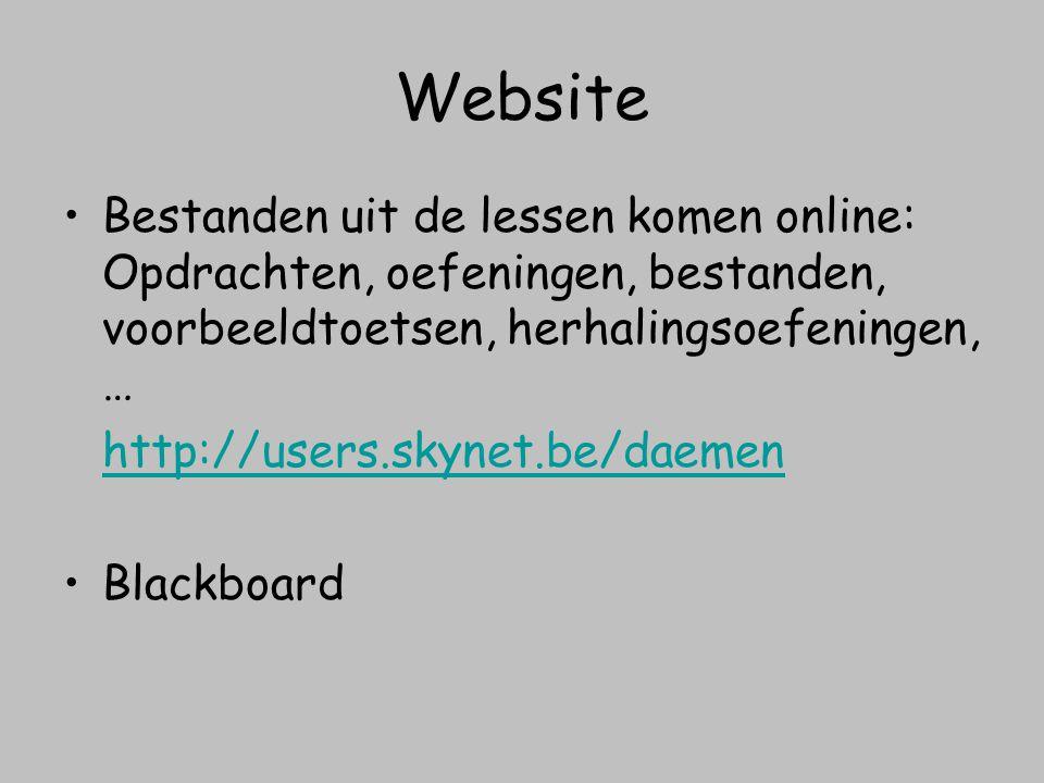 Website Bestanden uit de lessen komen online: Opdrachten, oefeningen, bestanden, voorbeeldtoetsen, herhalingsoefeningen, …