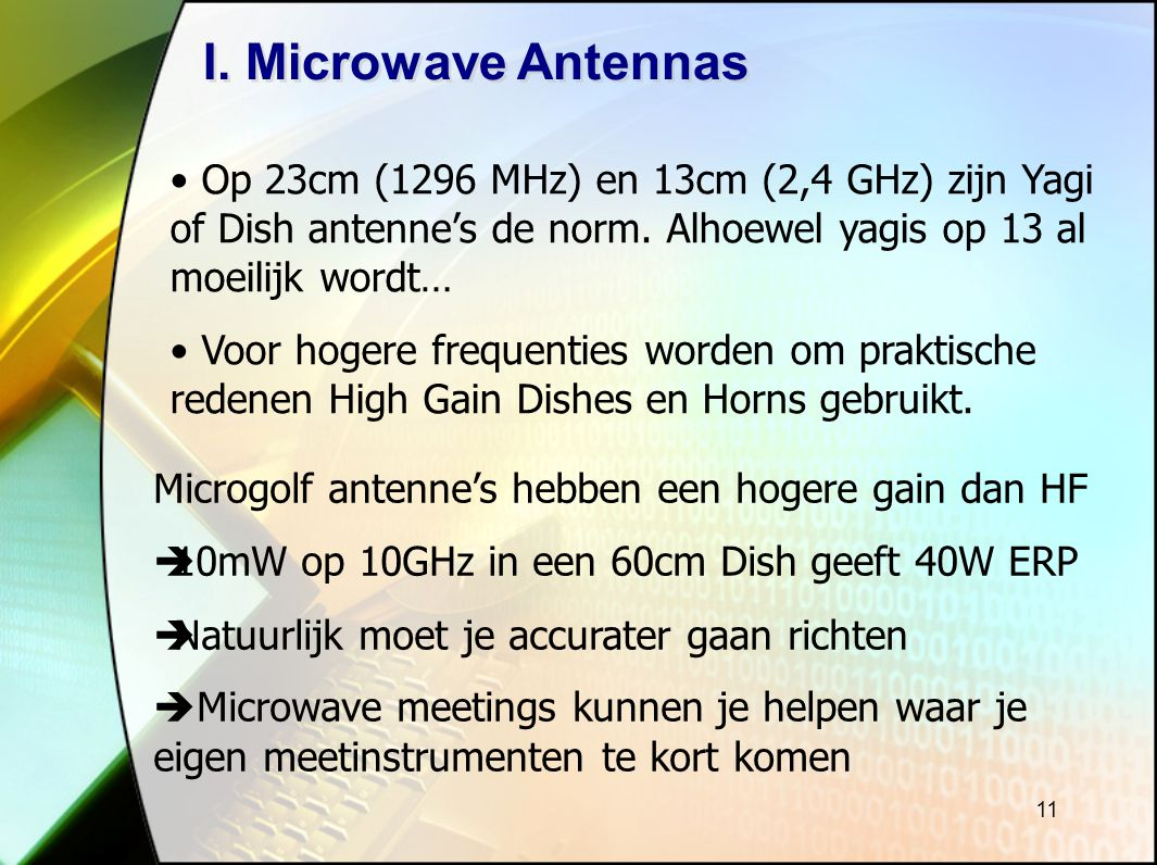 I. Microwave Antennas Op 23cm (1296 MHz) en 13cm (2,4 GHz) zijn Yagi of Dish antenne's de norm. Alhoewel yagis op 13 al moeilijk wordt…