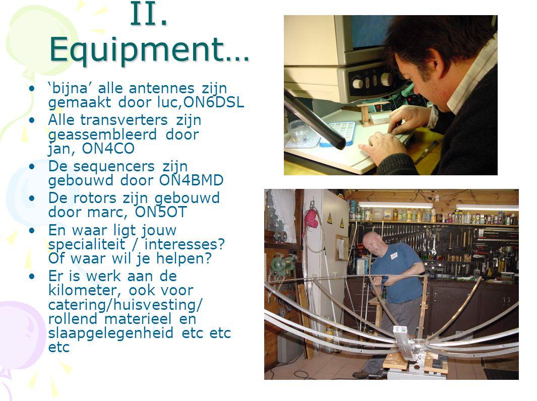 II. Equipment… 'bijna' alle antennes zijn gemaakt door luc,ON6DSL