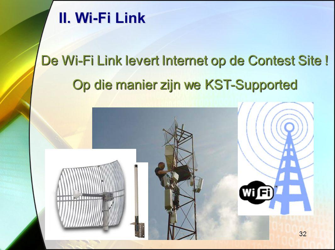 II. Wi-Fi Link De Wi-Fi Link levert Internet op de Contest Site !