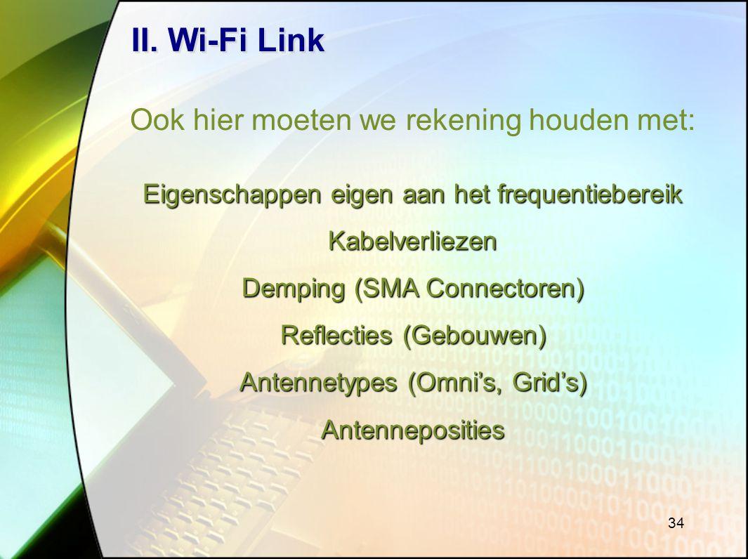 II. Wi-Fi Link Ook hier moeten we rekening houden met: