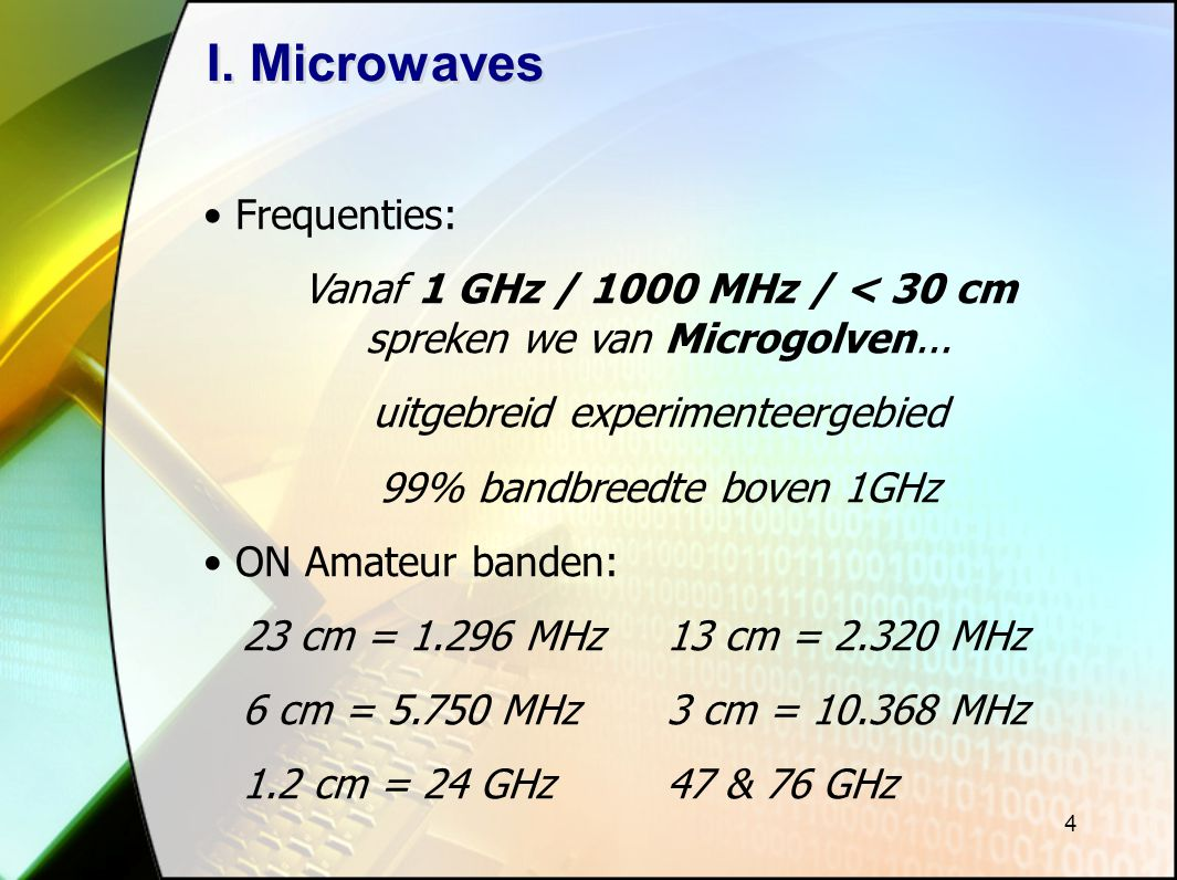 I. Microwaves Frequenties: