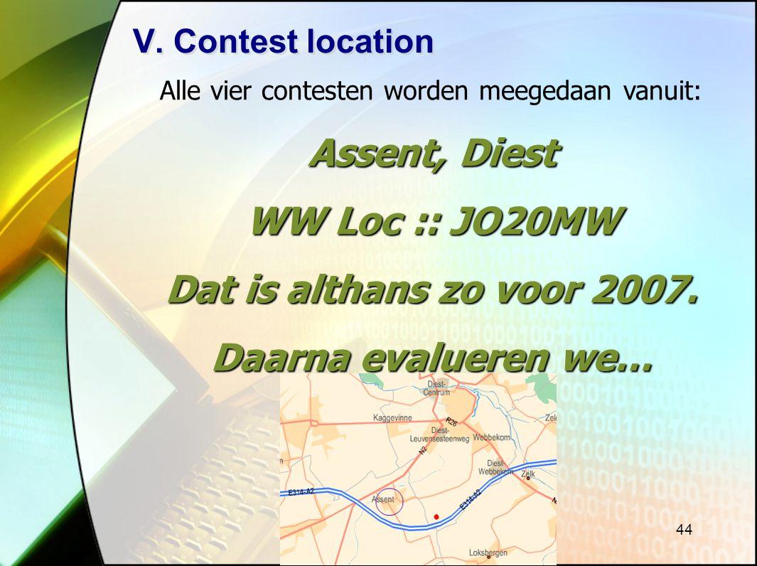 Alle vier contesten worden meegedaan vanuit: