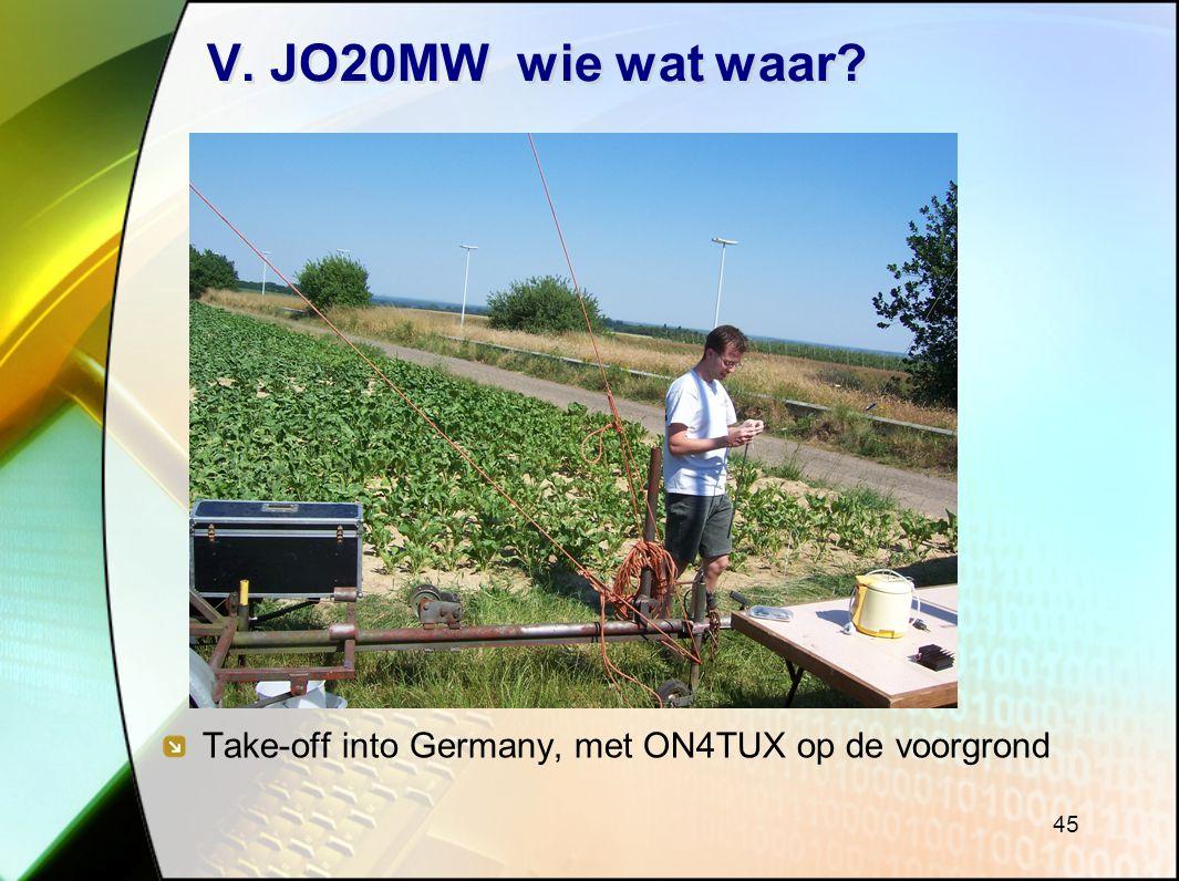 V. JO20MW wie wat waar Take-off into Germany, met ON4TUX op de voorgrond