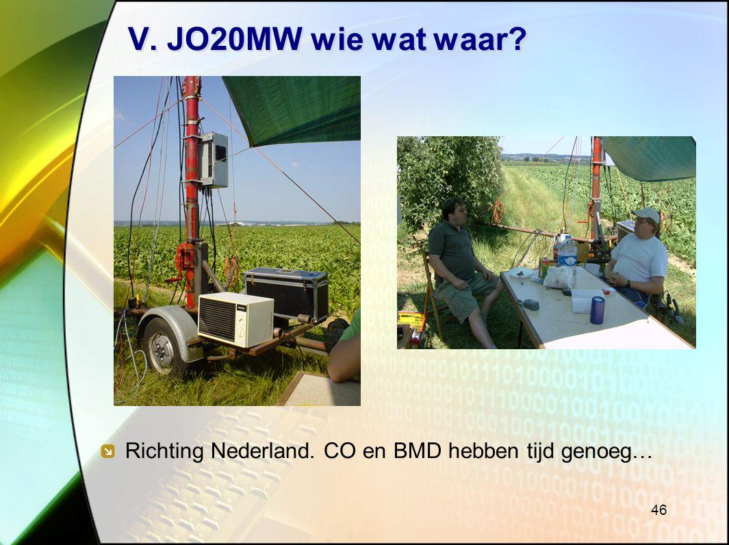 V. JO20MW wie wat waar Richting Nederland. CO en BMD hebben tijd genoeg…