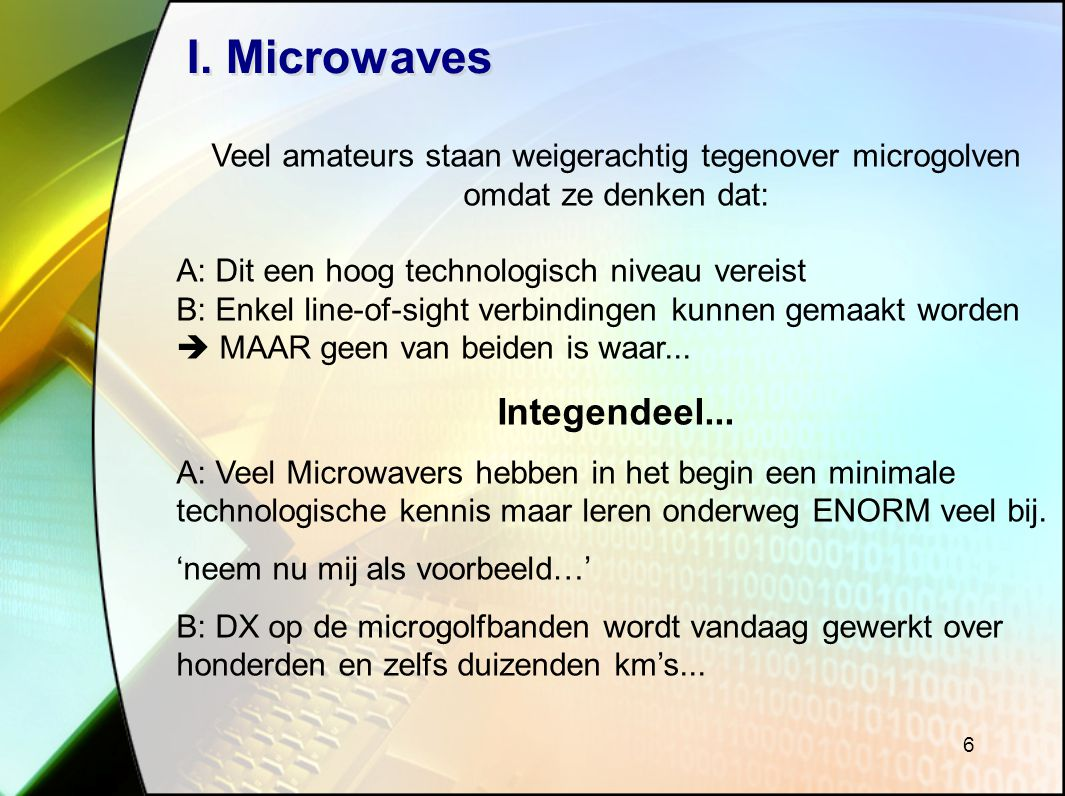 I. Microwaves Integendeel...