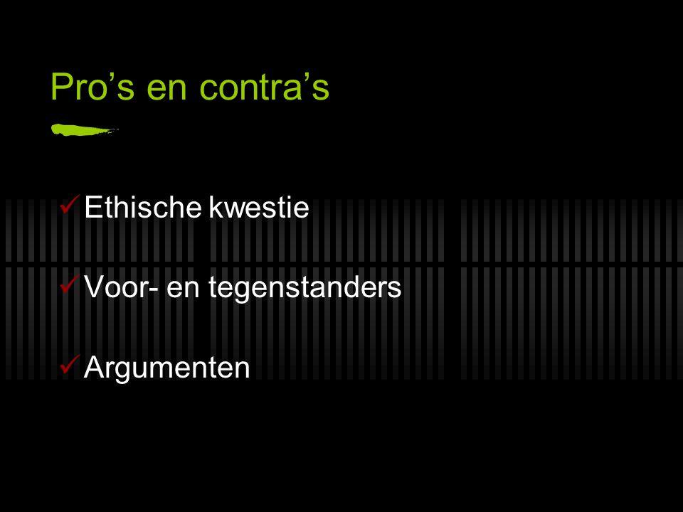 Pro's en contra's Ethische kwestie Voor- en tegenstanders Argumenten