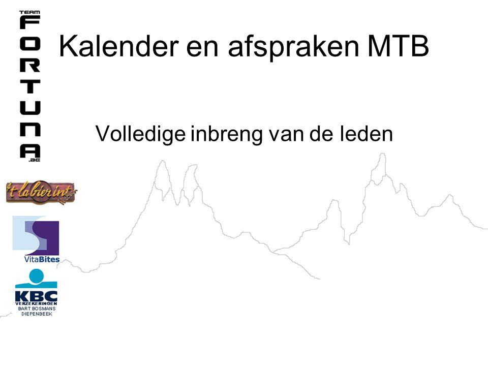 Kalender en afspraken MTB