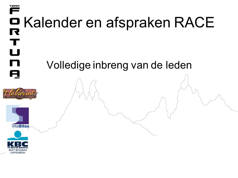 Kalender en afspraken RACE