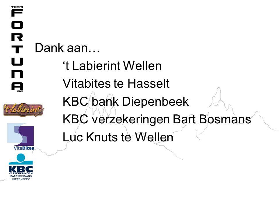 Dank aan… 't Labierint Wellen. Vitabites te Hasselt. KBC bank Diepenbeek. KBC verzekeringen Bart Bosmans.