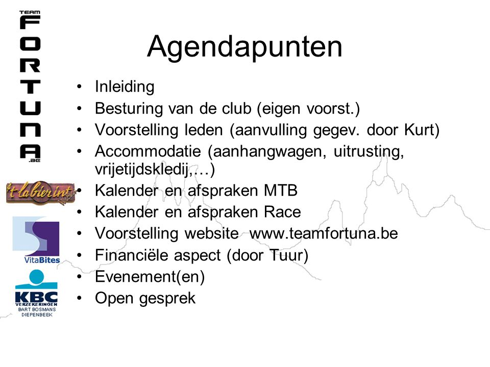 Agendapunten Inleiding Besturing van de club (eigen voorst.)