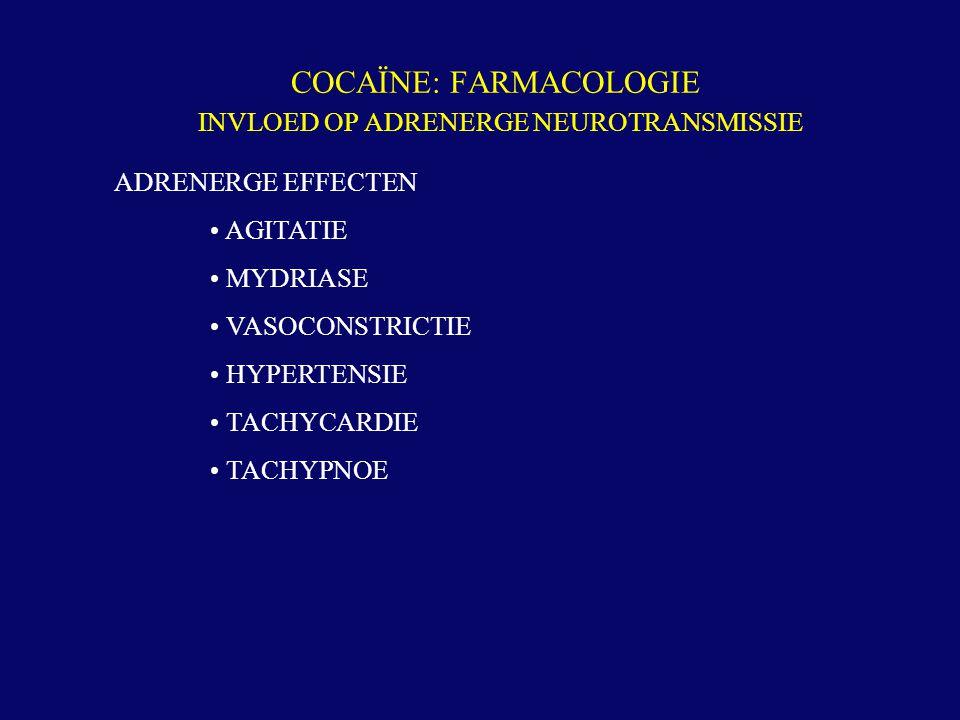 COCAÏNE: FARMACOLOGIE INVLOED OP ADRENERGE NEUROTRANSMISSIE