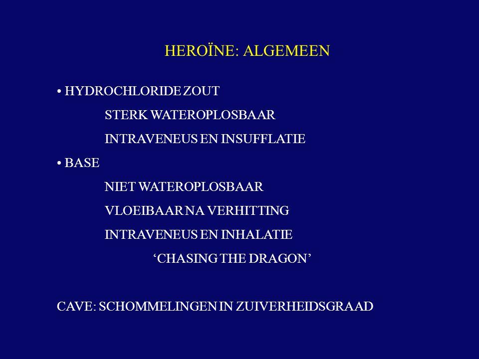 HEROÏNE: ALGEMEEN • HYDROCHLORIDE ZOUT STERK WATEROPLOSBAAR