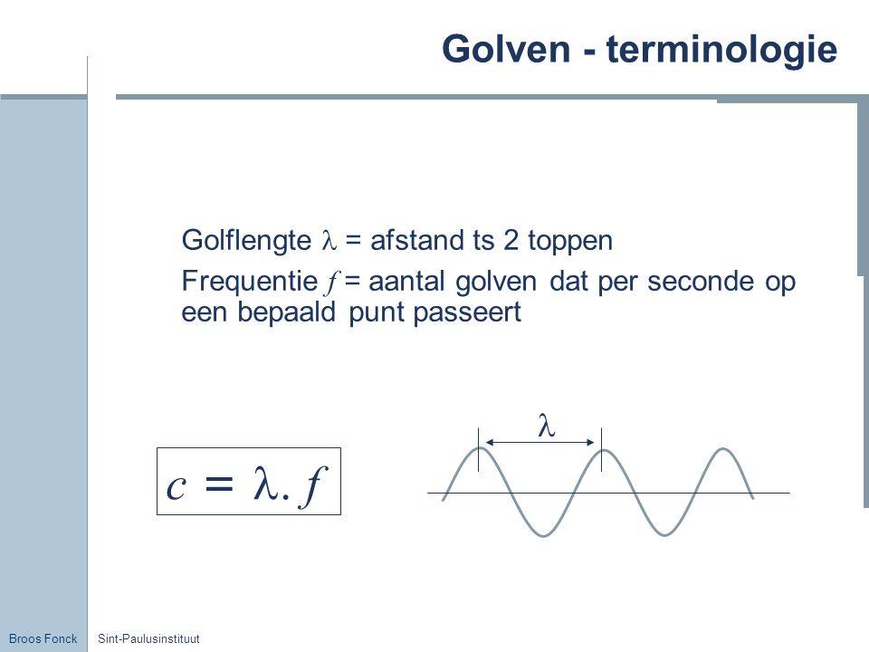 c = l. f Golven - terminologie l Golflengte l = afstand ts 2 toppen