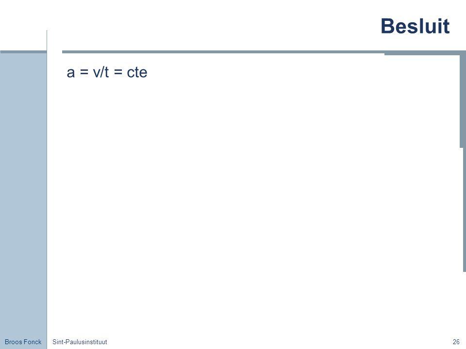 Besluit a = v/t = cte Sint-Paulusinstituut