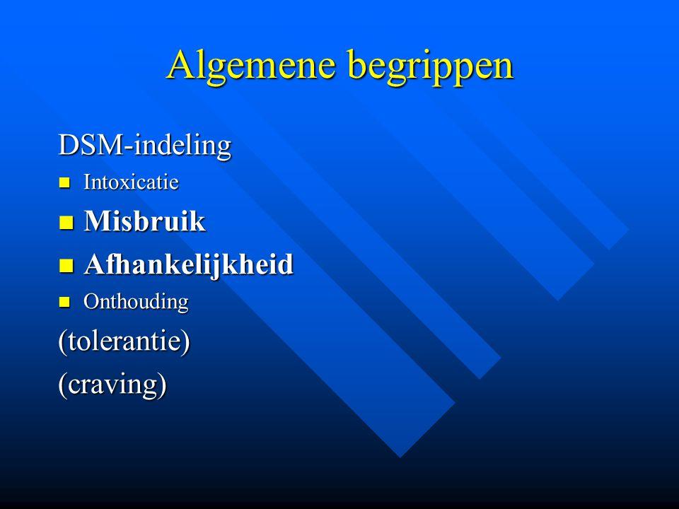 Algemene begrippen DSM-indeling Misbruik Afhankelijkheid (tolerantie)