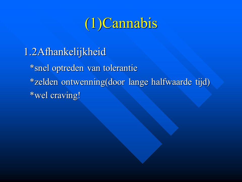 (1)Cannabis 1.2Afhankelijkheid *snel optreden van tolerantie