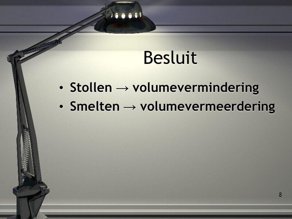 Besluit Stollen → volumevermindering Smelten → volumevermeerdering