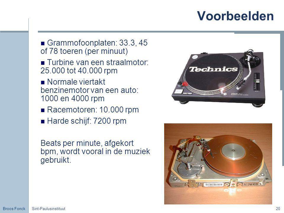 Voorbeelden Grammofoonplaten: 33.3, 45 of 78 toeren (per minuut)