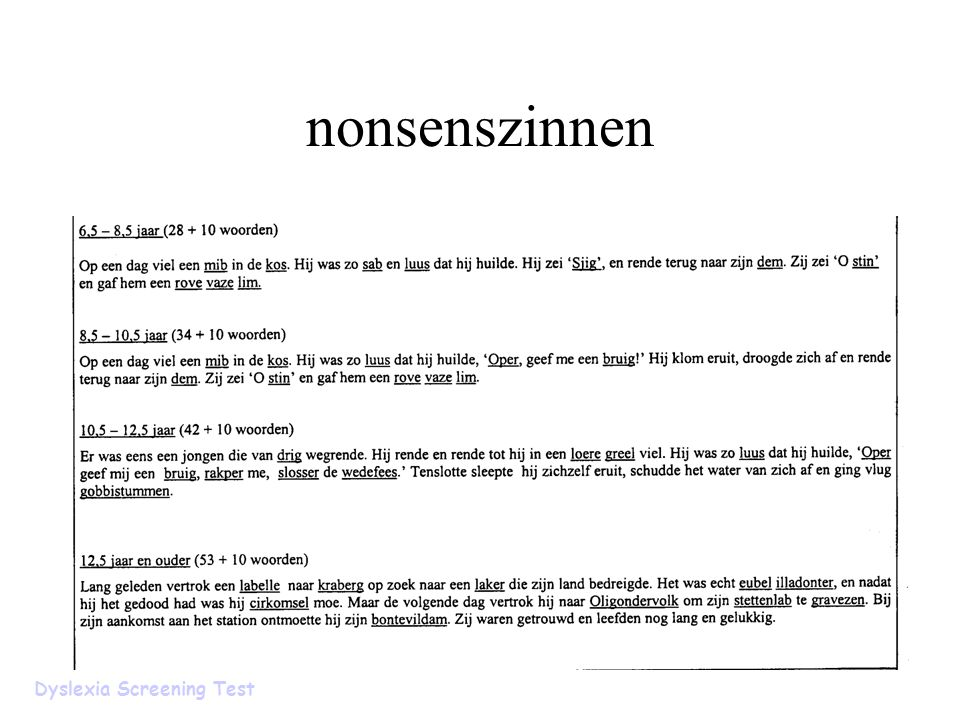 nonsenszinnen Dyslexia Screening Test