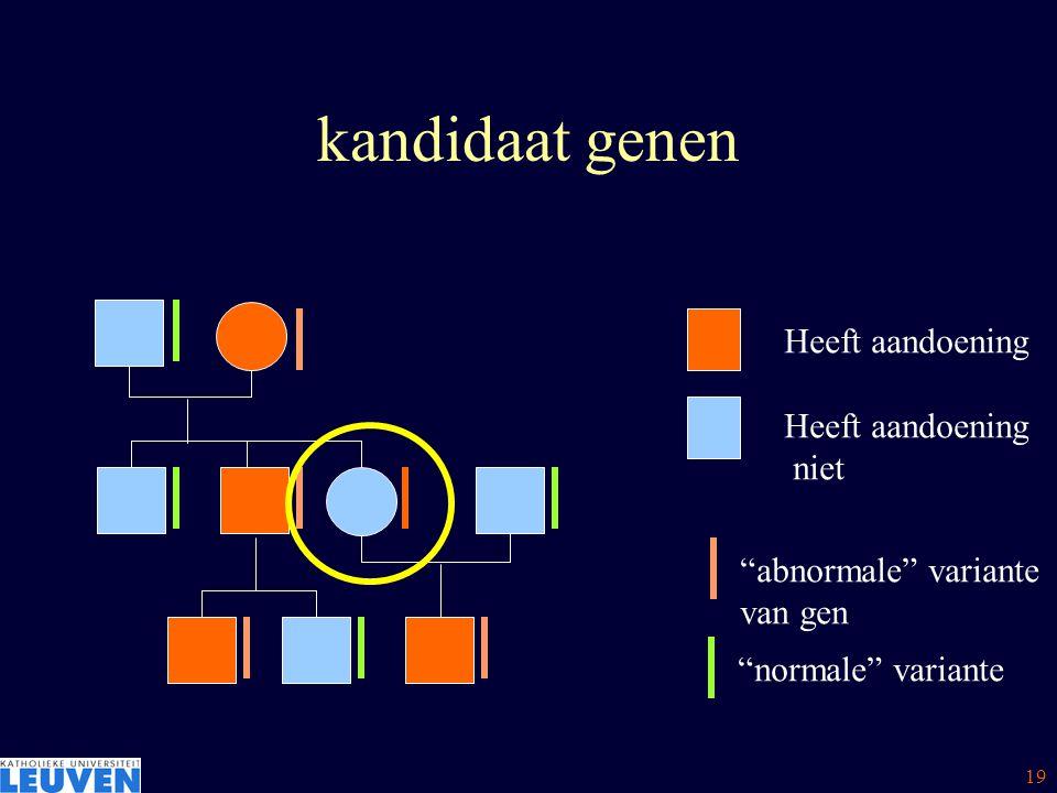 kandidaat genen Heeft aandoening niet abnormale variante van gen