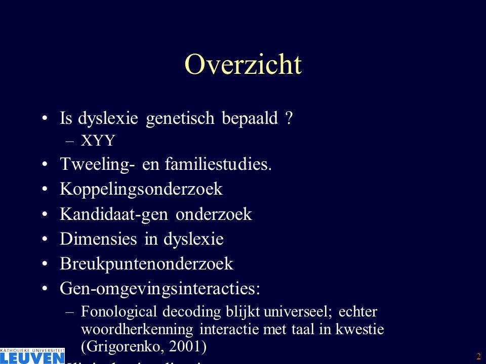 Overzicht Is dyslexie genetisch bepaald Tweeling- en familiestudies.