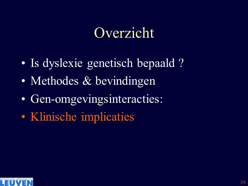 Overzicht Is dyslexie genetisch bepaald Methodes & bevindingen
