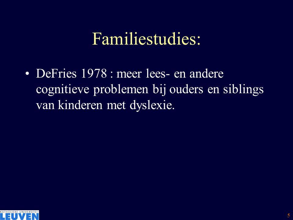 Familiestudies: DeFries 1978 : meer lees- en andere cognitieve problemen bij ouders en siblings van kinderen met dyslexie.