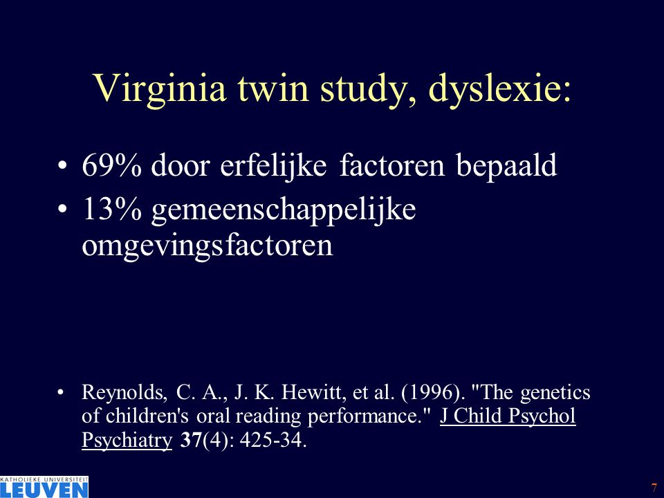 Virginia twin study, dyslexie: