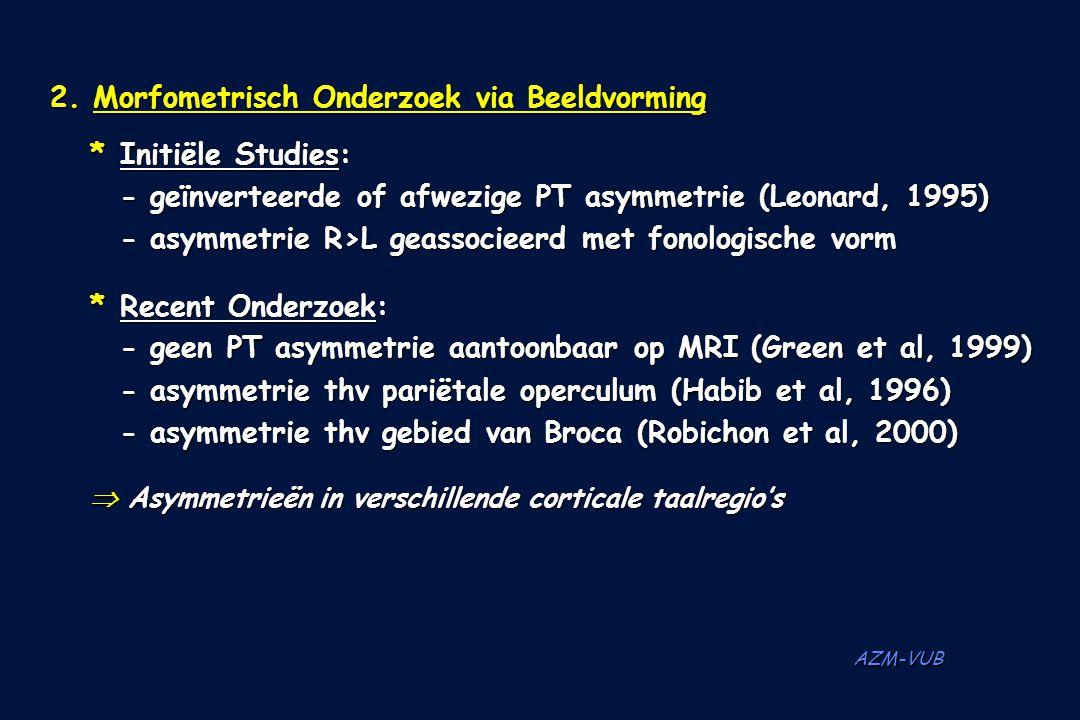 2. Morfometrisch Onderzoek via Beeldvorming * Initiële Studies: