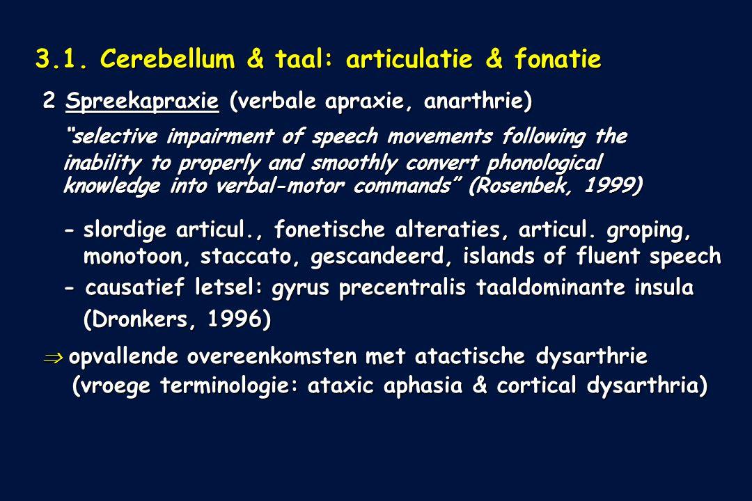 3.1. Cerebellum & taal: articulatie & fonatie