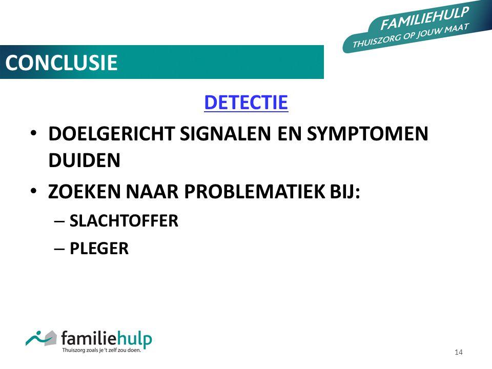 CONCLUSIE DETECTIE DOELGERICHT SIGNALEN EN SYMPTOMEN DUIDEN