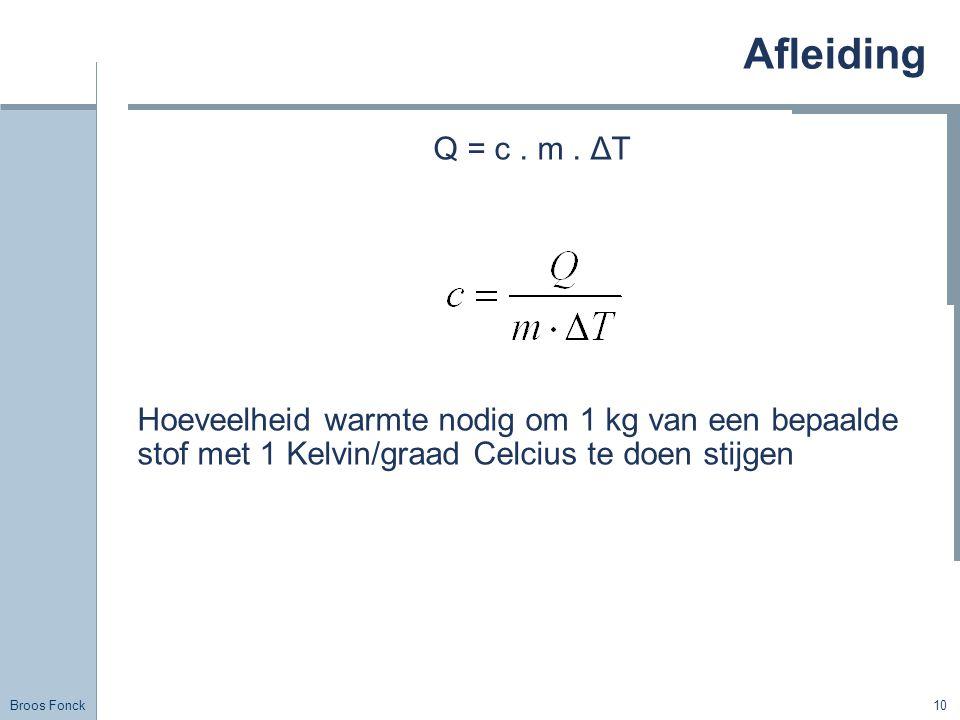 Afleiding Title. Q = c . m . ΔT. Hoeveelheid warmte nodig om 1 kg van een bepaalde stof met 1 Kelvin/graad Celcius te doen stijgen.