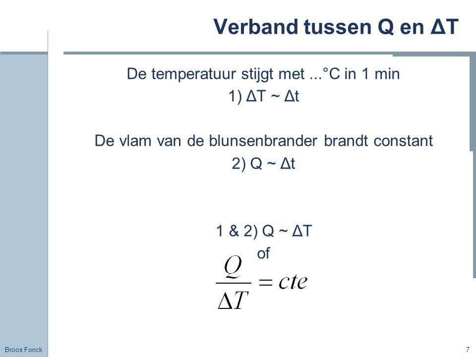 Verband tussen Q en ΔT De temperatuur stijgt met ...°C in 1 min