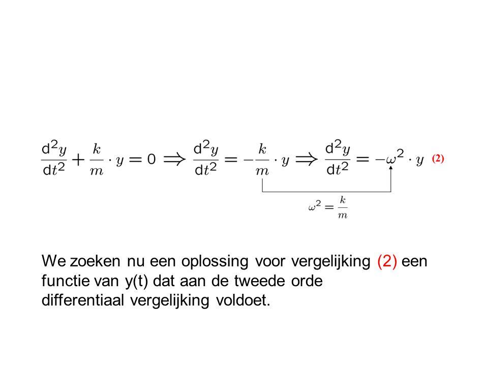 We zoeken nu een oplossing voor vergelijking (2) een functie van y(t) dat aan de tweede orde